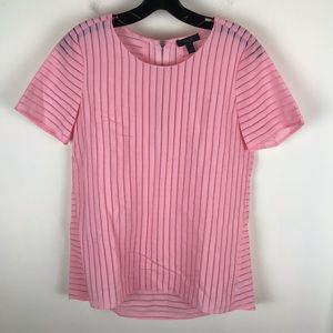 J. Crew Sz 2 Shadow Stripe Top Blouse Pink Career